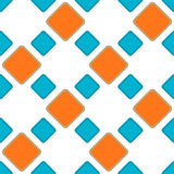 Squares diamonds seamless backgound pattern. Blue and Orange brick diamonds or squares geometric pattern. Seamless Tile Stock Images