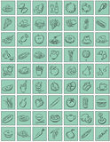 Squares with food symbols. Mint colored squares with black food symbols. Available als Illustrator-File Stock Photography