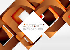 Squares geometric object in light 3d space, abstract background Royalty Free Stock Photo