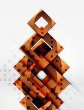 Squares geometric object in light 3d space, abstract background. Squares geometric object in light 3d space, vector abstract background Royalty Free Stock Images