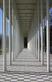 Squares and lines. Gateway of white pillars stock images