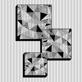Squares in low poly style. Black and white Stock Photos
