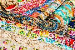 Squares of painted ornamental cloth Royalty Free Stock Images