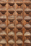 Squares pattern on old wooden door Royalty Free Stock Image
