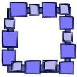 Squares Photo Picture Frame 2. An abstract blue frame border with a variety of different shaped squares in black ink Royalty Free Stock Images