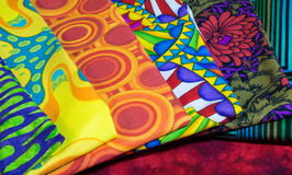 Squares of Quilt Fabric. Laid out in a row Stock Photos