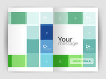 Squares and rectangles a4 brochure template. Vector design for infographics workflow layout, diagram, number options or web design Royalty Free Stock Images