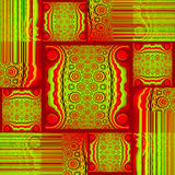 Squares and rectangles pattern with circles and stripes red bright green shifted Stock Image