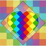 Squares of colors of a rainbow with a unique contour of heart in the middle. lgbt symbolism stock illustration