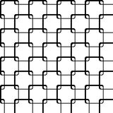 Squares with rounded corners form a grid. On white background black outlines of the squares form a grid vector illustration