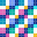 Squares seamless background, color, vector. Pink, green and blue squares and dark blue rectangles on a white field. Colorful, geometric background. For the Royalty Free Stock Image