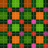 Squares seamless background, green, vector. Brown, orange, pink and red squares on a dark green field. Colorful, geometric background. For the decoration Royalty Free Stock Photos