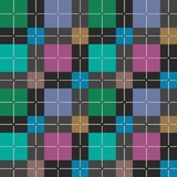 Squares seamless pattern dark gray vector. Green, blue, pink and yellow squares on a dark gray background. Colorful, geometric background. For the decoration Royalty Free Stock Photos