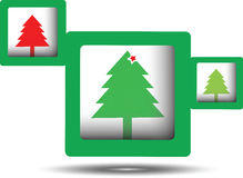 Squares with three merry christmas tree Royalty Free Stock Photography
