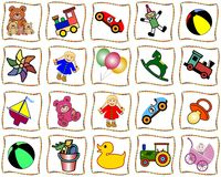 Squares with toys. White squares with curved colored border  with toys. Available as Illustrator-file Royalty Free Stock Photos