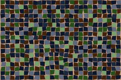 Abstract squares background pattern in green, blue and umber Royalty Free Stock Image