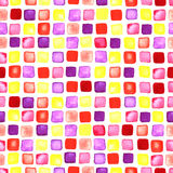 Squares watercolor shapes seamless ornament. Royalty Free Stock Photo