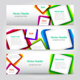 Squares web banners. Set of banners with squares. With bright elements banner Royalty Free Stock Photo