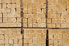 Squares of wood. Wood cut in square form stacked in clusters Royalty Free Stock Photography