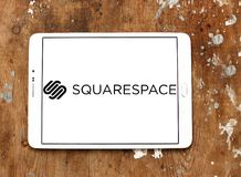 Squarespace software company logo. Logo of Squarespace software company on samsung tablet. Squarespace is an American private company that provides software as a royalty free stock image