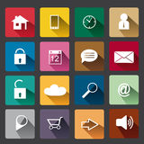 Squarish web icons, flat design with drop shadow and retro colors Royalty Free Stock Images