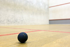 Squash ball in sport court. Squash ball in bright lit sport court stock image