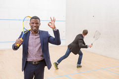 Squash businessmen players Royalty Free Stock Photography