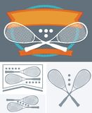 Squash game - ball and racket Stock Images