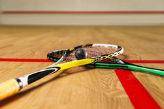 Squash game equipment closeup view Royalty Free Stock Images