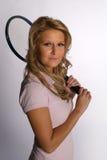 Squash girl with racket Stock Photos