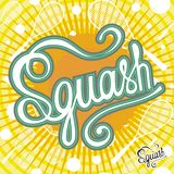 Squash inscription and pattern vector.Yellow background. Illustration sport objects Stock Photos