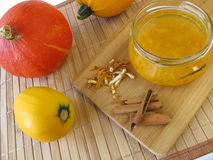 Squash jam with cinnamon and orange peel Royalty Free Stock Photo