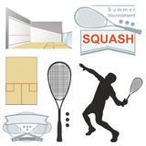 Squash logos, emblems, silhouette. Royalty Free Stock Photography