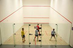 Squash Room with player in competition royalty free stock images