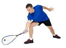 Squash player. On white background Royalty Free Stock Images