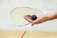 Squash player serving a ball. Squash racket and ball in men`s hand. Racquetball equipment. Photo with selective focus. Player prepares to serve a squash ball Stock Image
