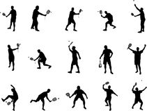 Squash player silhouettes royalty free stock photos