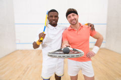 Squash players smiling Stock Photography