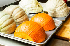 Squash and pumpkin halves royalty free stock images