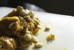 Squash or pumpkin seeds. Squash seeds just scopped out of a raw squash, ready to bake Stock Photos