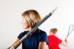 Squash racket sport in gym Royalty Free Stock Image