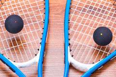 Squash rackets and balls Stock Image