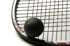 Squash racquet with squash ball. Squash racquet racket and ball Royalty Free Stock Image