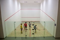 Squash Room with player in competition royalty free stock image