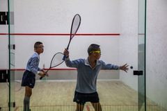 Squash Room with player in competition royalty free stock photo