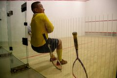 Squash Room with training player royalty free stock images