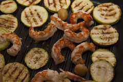 Squash and shrimps on pan Stock Photography