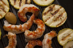 Squash and shrimps on pan Royalty Free Stock Image
