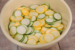Squash slices in a bowl Royalty Free Stock Image