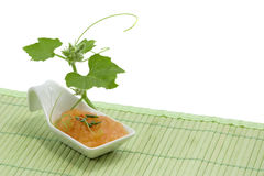 Squash soup. In white spoon Royalty Free Stock Photography